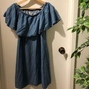 Off shoulder denim color dress summer dress medium